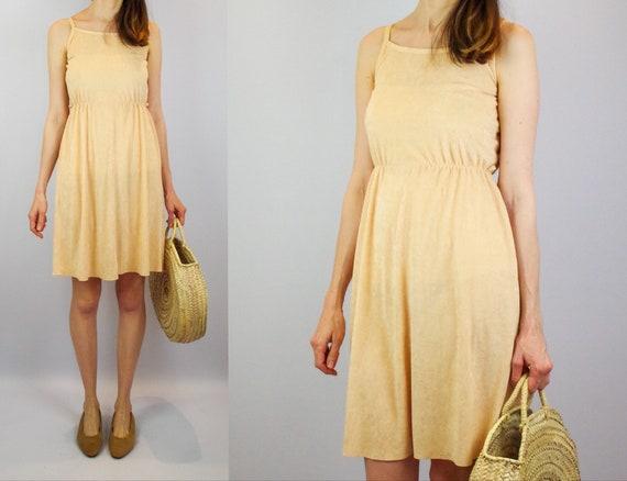 1970s peach terry towelling midi dress / vintage b