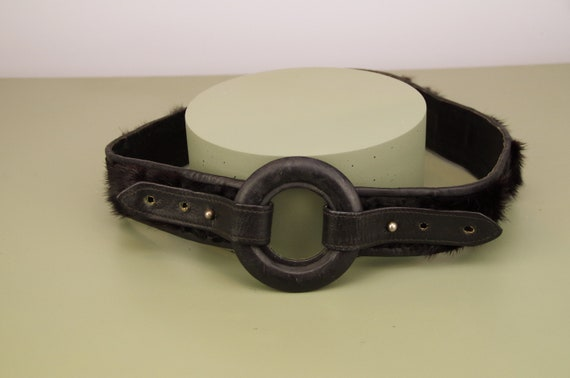Vintage black fur and leather belt / adjustable ci