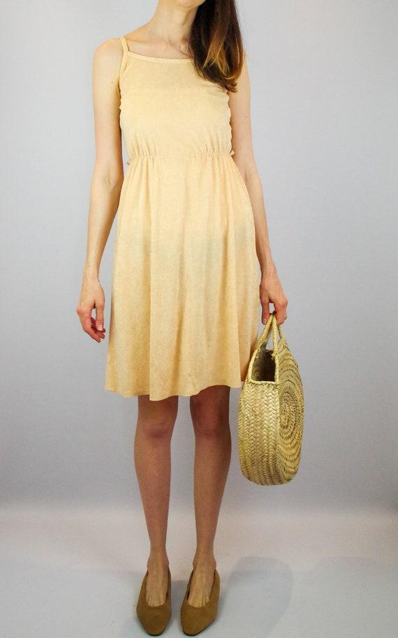 1970s peach terry towelling midi dress / vintage … - image 2