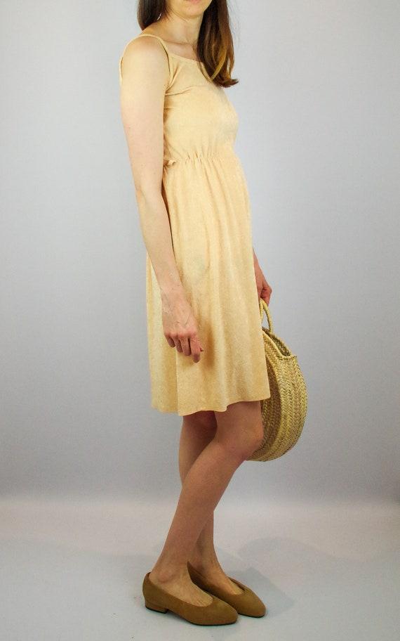 1970s peach terry towelling midi dress / vintage … - image 6