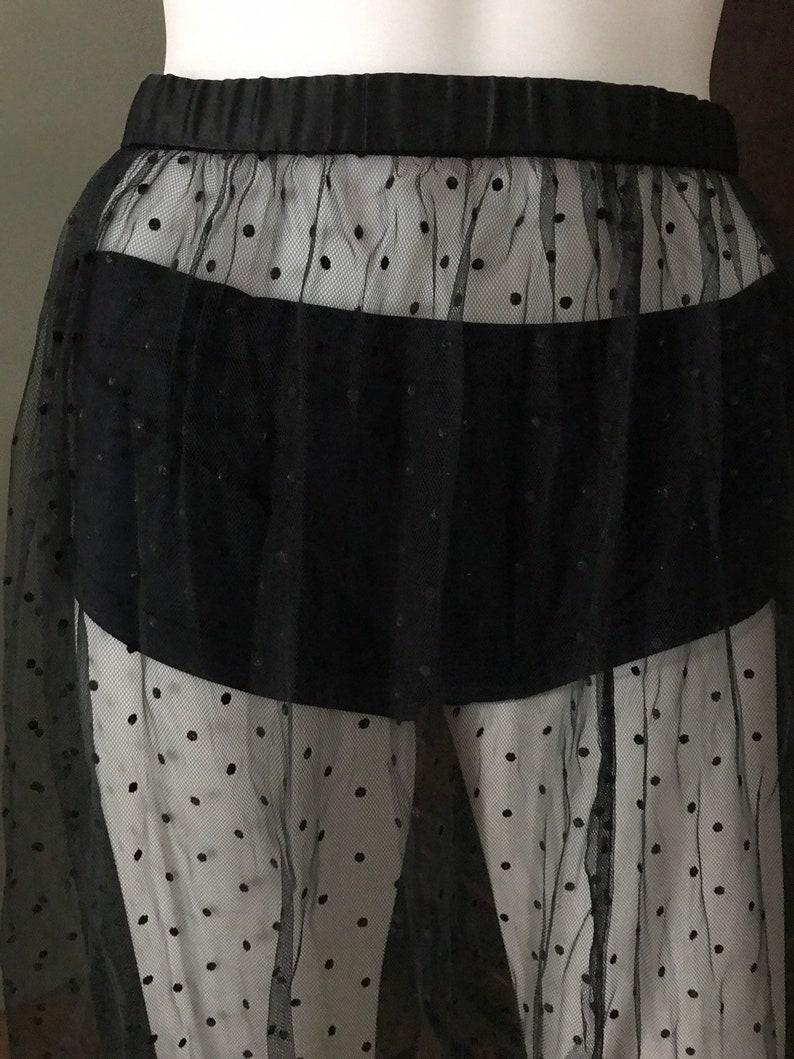 Handmade Vintage 1970s Sheer Polkadot skirt  Slip  goth  Rockabilly  pinup  girly with satin waist and trim Korean