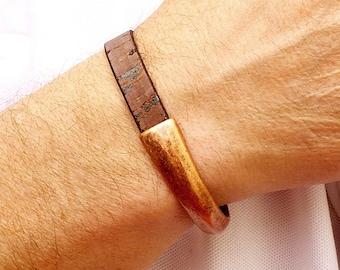 Vegan Leather Bracelet, Mens Copper Bracelet, Mens Brown Leather Bracelet, Eco Friendly Jewelry, Unisex Bracelet, Mens Copper Cuff Bracelet