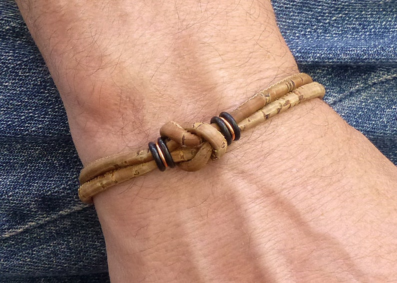 c18696c9666 Bracelet en cuir naturel Vegan Bracelet celtique en cuivre