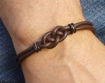 Double Celtic Love Knot Bracelet, Mens Brown Leather Bracelet, Copper Bracelet, Unisex Celtic Jewelry, Celtic Knot Infinity Bracelet for Him
