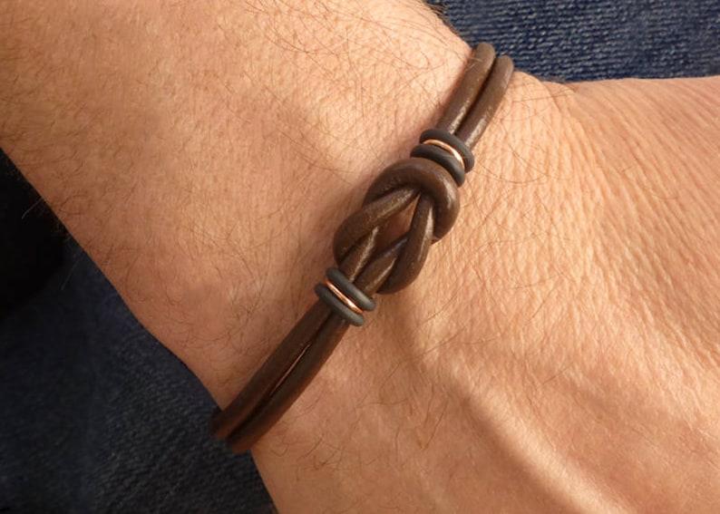 Mens Brown Leather Bracelet Celtic Bracelet Mens Copper image 1