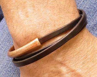Mens Leather Wrap Bracelet, Mens Copper Bracelet, Mens Brown Leather Bracelet, Leather Jewelry, Triple Wrap Bracelet, Copper Cuff Bracelet