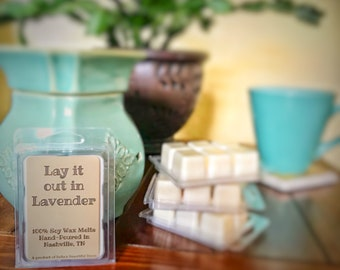 Lavender Soy Wax Melts // Lay it out in Lavender // 100% Soy Wax // Lavender Wax Tarts // Lavender Lover // Gift Ideas // Gifts for Her