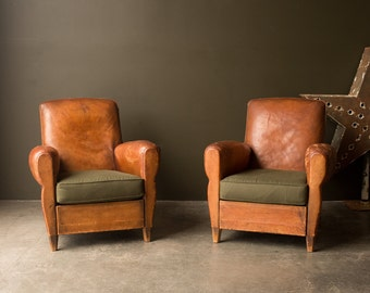 Vintage Furniture / 1930's / Original Leather French Club Chair Set / Set Of Two Chairs / Antique Leather & Canvas Chair Set
