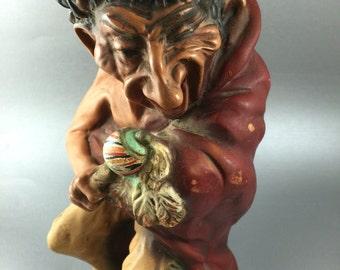 Devil with Horns Medicine Man Chalk Statue 1977