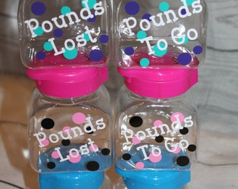 Weight Loss Tracker - Containers with Marbles - Weight Management - New Years Resolution - Pounds Lost Pounds To Go
