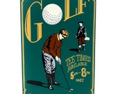 Antique hand painted in Minnesota wood golf art