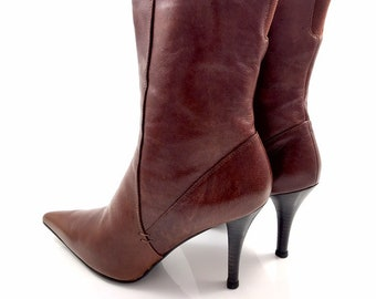 d154b35856 Vintage BANDOLINO tobacco brown leather boots