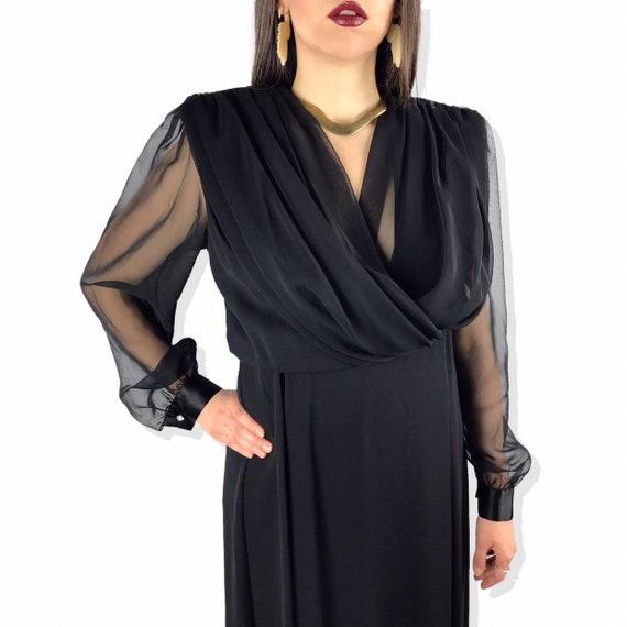 1980's URSULA OF SWITZERLAND black chiffon dress