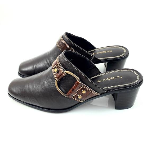 Vintage 90's LIZ CLAIBORNE brown leather horsesho… - image 1