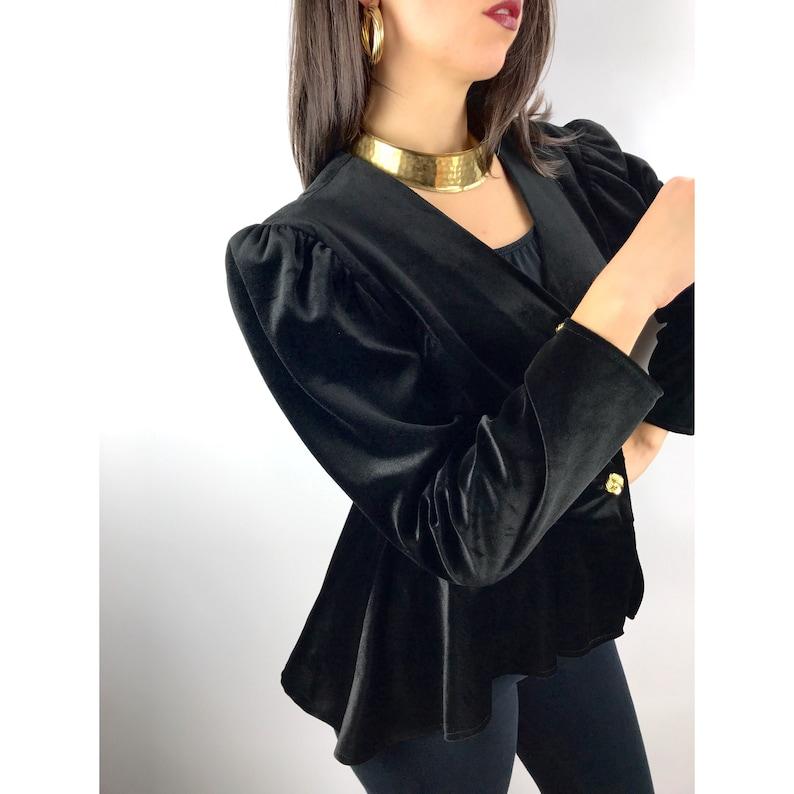 Vintage MISS DORBY black velvet peplum blouse