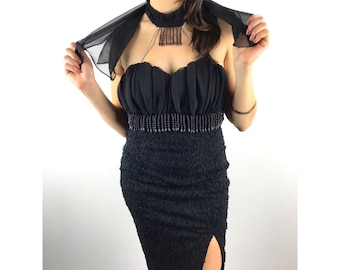 1980's black strapless fitted dress with attached choker and cape