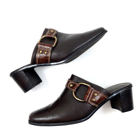 Vintage 90's LIZ CLAIBORNE brown leather horsesho… - image 2