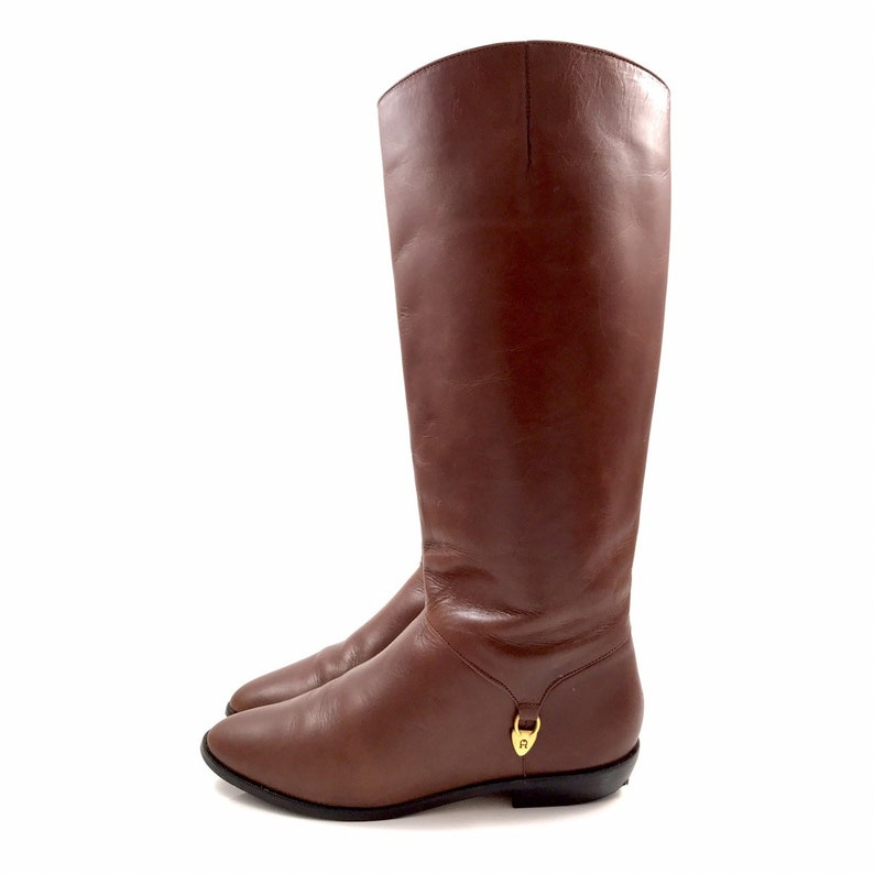 2cd84d57e7a 1960s ETIENNE AIGNER brown leather riding boots