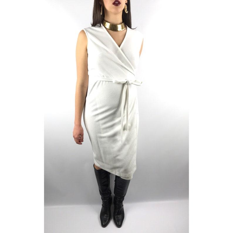 acd0fa183df 1960s white linen wrap dress by SEARS