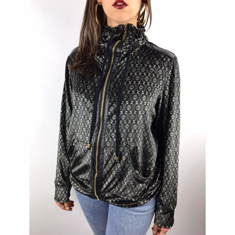 90/'s black and gold velour track jacket by MIRROR IMAGE