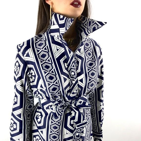 1970's LANVIN Art Deco clover shift dress