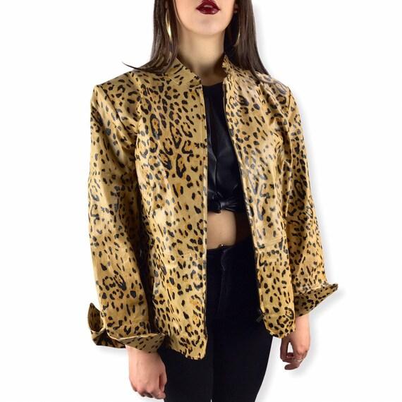 90er Leopard Lederjacke