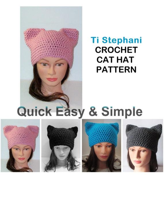 CAT HAT PATTERN Simple Crochet Pattern Kitty Cat Hats Cat | Etsy