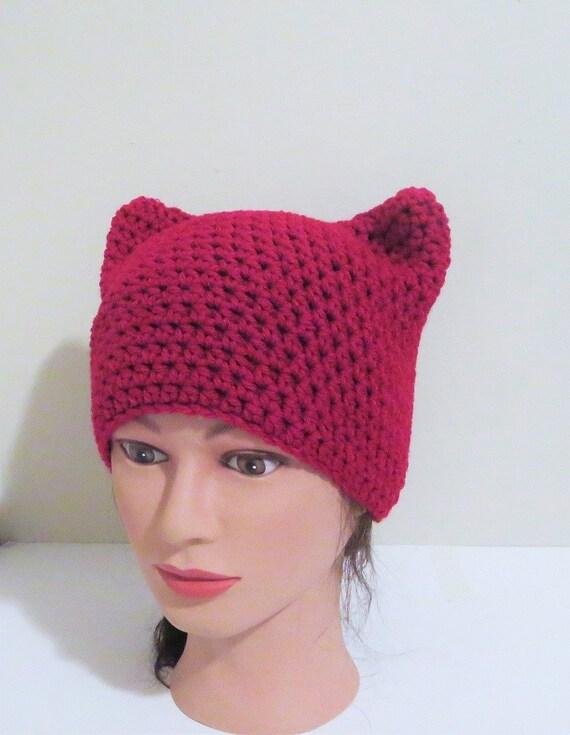 Rojo gato sombrero gorrita tejida del ganchillo gato gorro   Etsy