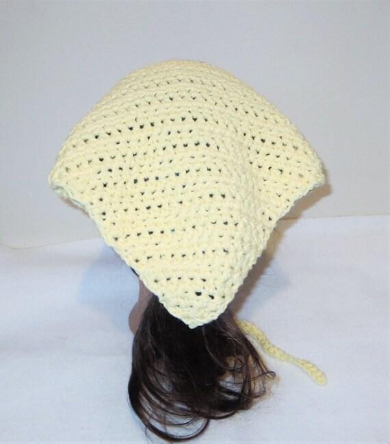 Tejido amarillo Bandana pañuelo corbata en algodón gorro | Etsy