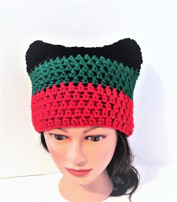 Pan African Cat Hat Crochet Cat beanie Animal Beanie Hat  814132c58a6
