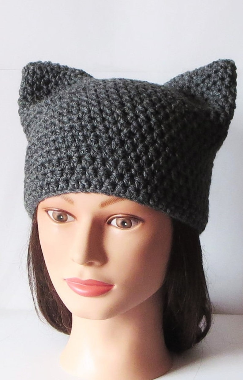 61a4a9cd1 Gray Cat Hat, Crochet Cat beanie, Animal Beanie Hat, Kitty Kitten Hat,  Special Gifts. Super Cute all Season Beanie hat, gift for her