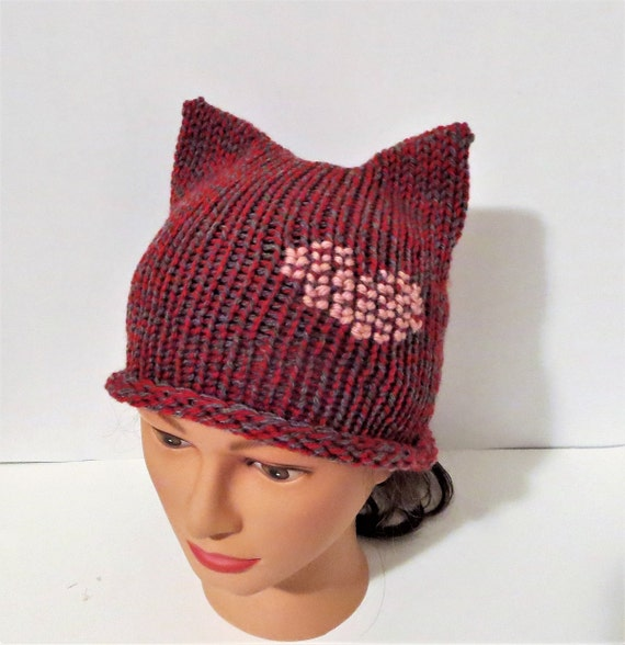 Romantic Knit Kitty Hat Knit Cat Hat With Heart Romantic Etsy