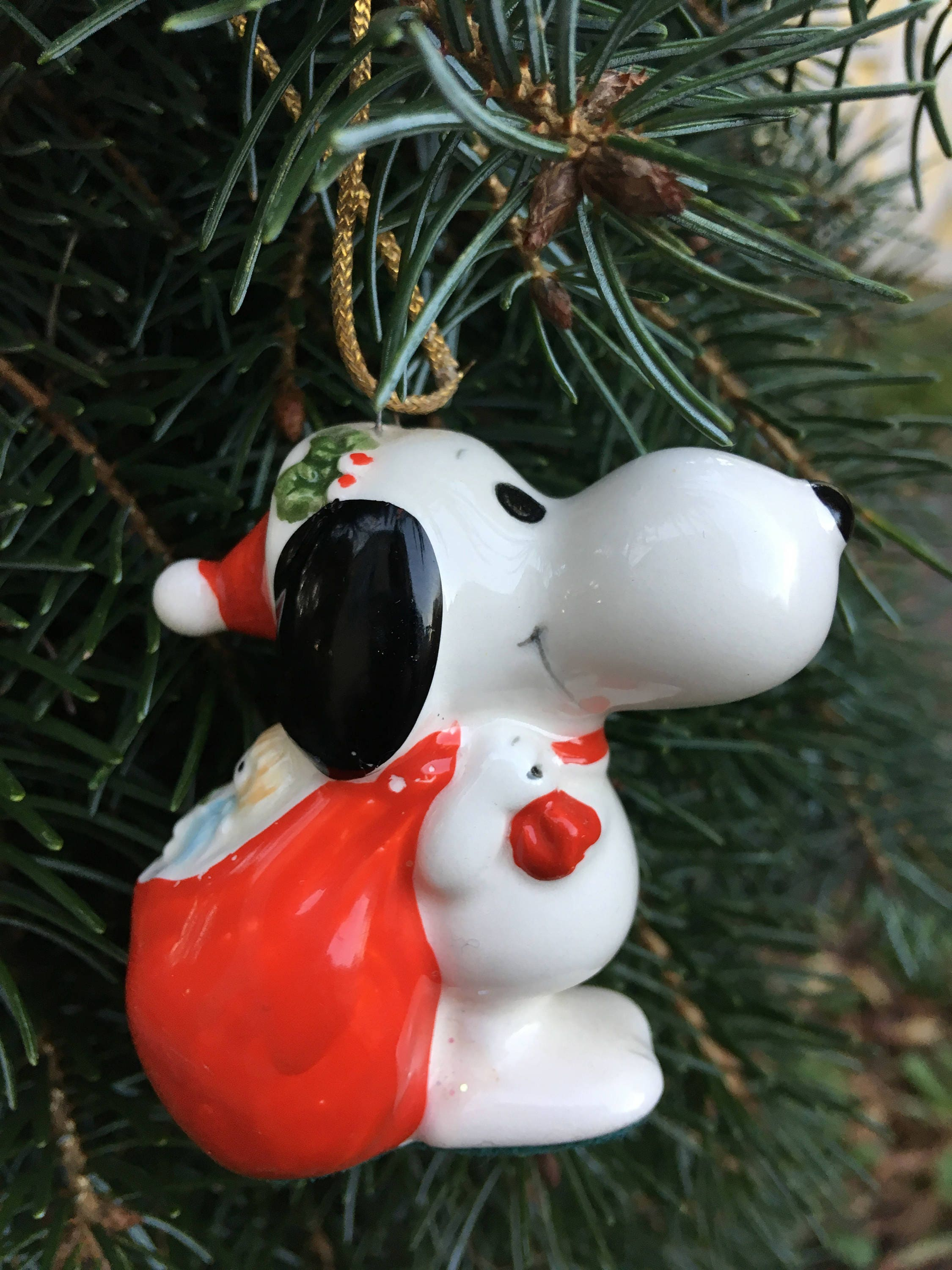 watch a6a7a 09470 Snoopy Christmas Ornament – Ceramic Peanuts Collectible – 1960s Santa
