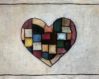 "Art Print // Patchwork - heart // ""Beating"""