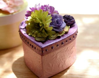 Floral Keepsake Box, Pretty in pink, green and lavender -- Handcrafted one of a kind - gift, trinket