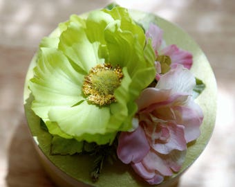 Handcrafted Floral Keepsake Box, Pretty in pink, and green and peach - gift, trinket
