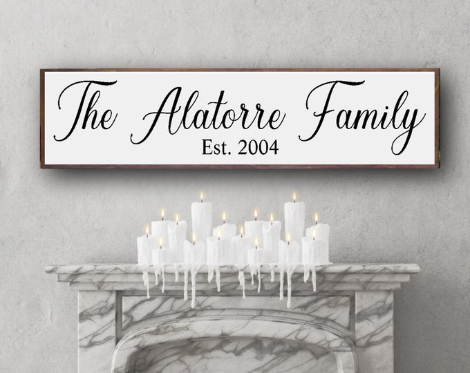 Farmhouse Style Sign, Personalized Est Sign, Personalized Family Name Sign, Long Wooden Sign, Large Sign, Family Sign, Wedding Wall Decor