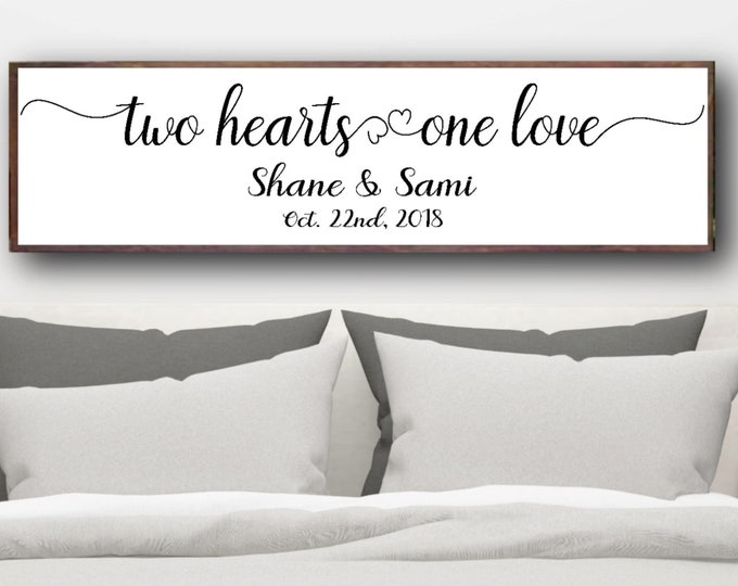Personalized Couple Sign, Couple Name Sign, Two Hearts One Love, Couple Wedding Sign, Personalized Gift For Couple, Wedding Shower Gift
