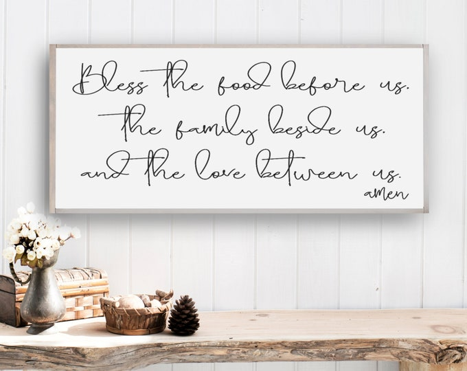 Farmhouse Decor, Bless The Food Before Us Sign, Farmhouse Style Sign, Rustic Sign, Framed Farmhouse Sign, Dining Room Sign, Housewarming