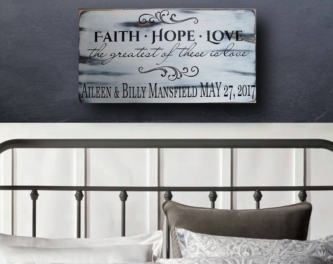 Family Name Sign, Personalized, Faith Hope Love Sign, Wedding Gift, Bible Verse, Custom Wood Signs, Anniversary Gifts, Bridal Shower Gift