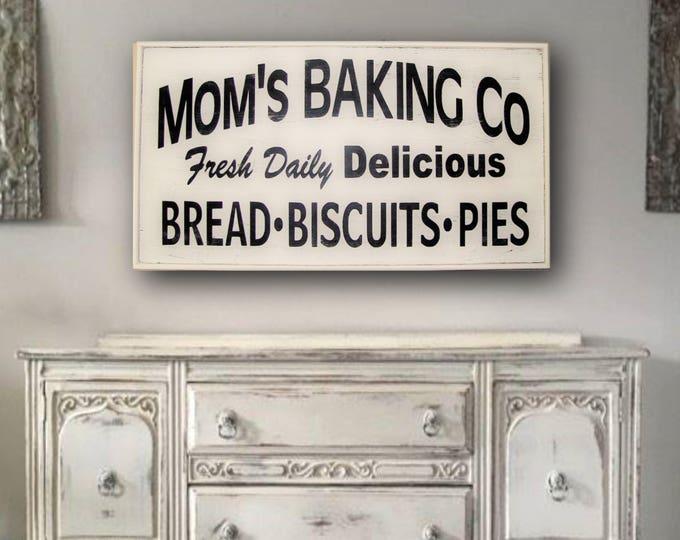 Farmhouse kitchen decor, Farmhouse Kitchen Sign, Farmhouse Kitchen Wall Decor, Farmhouse Wall Decor, Framed Mom's Baking Co Sign, Large Sign