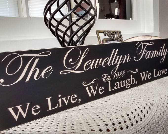 Family Sign, Personalized Gift, Family Personalized Name, Custom Family Sign, Personalized Family Name Sign, We Live, We Laugh, We Love