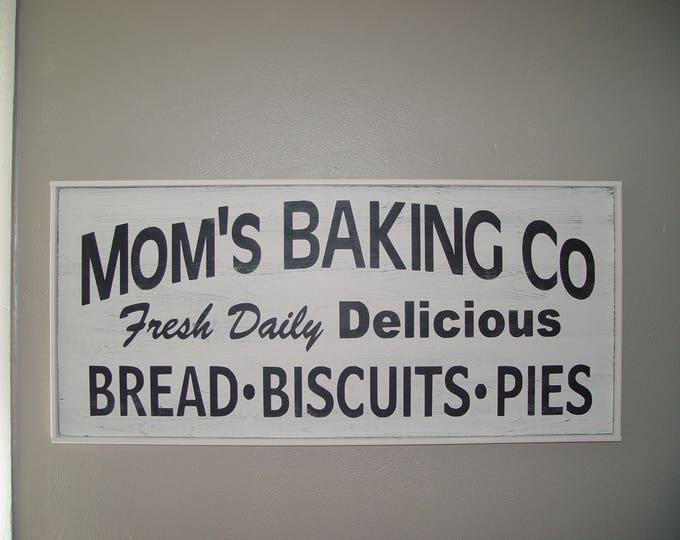 Farmhouse kitchen decor, Farmhouse Kitchen Sign, Farmhouse Kitchen Wall Decor, Farmhouse Home Decor, Mom's Baking Co Sign, Large Sign, Home