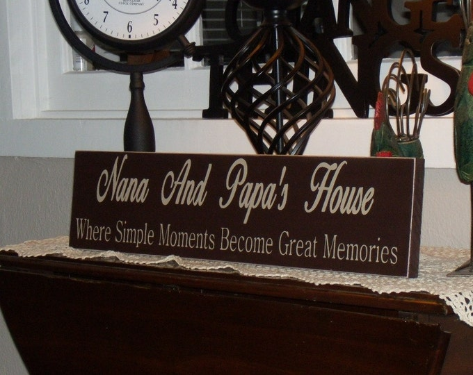Personalized Custom Nana And Papa Sign Put Your Grandparent Names On It Where Simple Moments Become Great Memories solid wood, priority ship