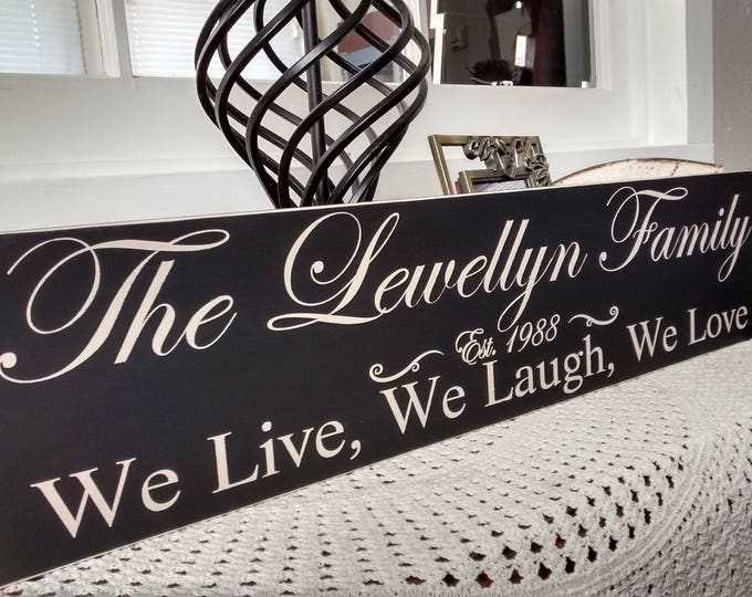 Established Family Name Sign, Family Name Sign, We Live, We Laugh, We Love, personalized gift, custom sign, family name, established date