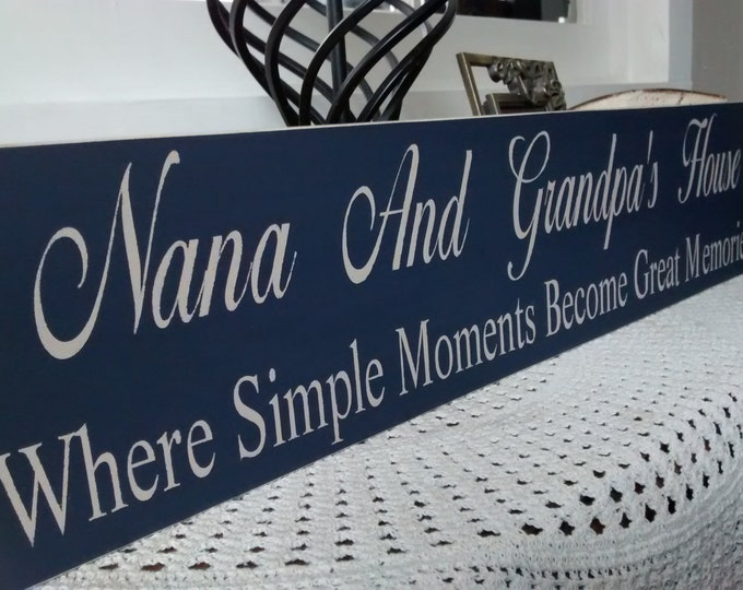 Personalized Nana And Papa Sign, Grandparents Names, Nana And Papa Gift, Where Simple Moments Become Great Memories, Custom Nana Papa Sign