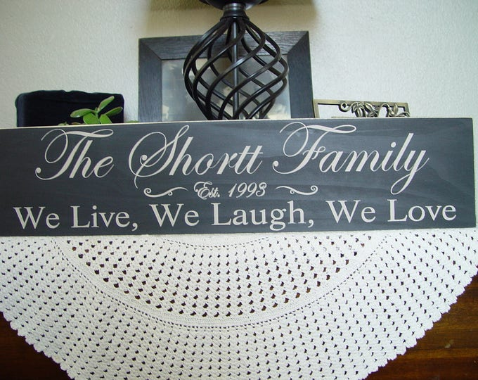 Wedding Sign, Mothers day from Daughter, Personalized Established, Family Name Sign, We Live, We Laugh, We Love, solid wood, Wedding Gift