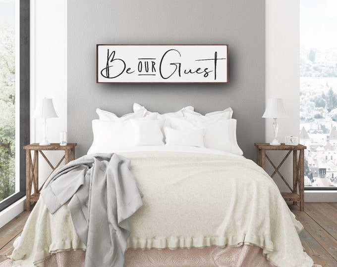 Guest Room Sign, Be Our Guest Sign, Guest Bedroom Decor, Over The Bed Sign, Welcome Sign, Farmhouse Style Sign, Framed Farmhouse Sign
