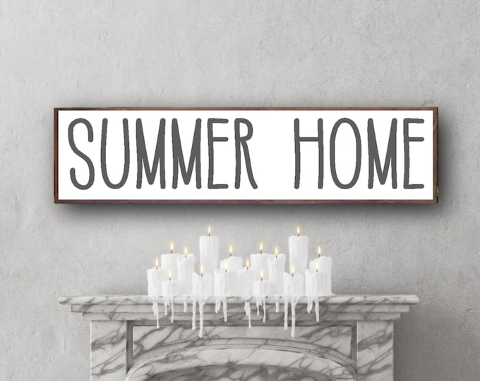 summer home sign, summer home decor, summer sign wood, cottage wood sign, cottage wall decor, rustic framed sign, Lake Home, summer wall art
