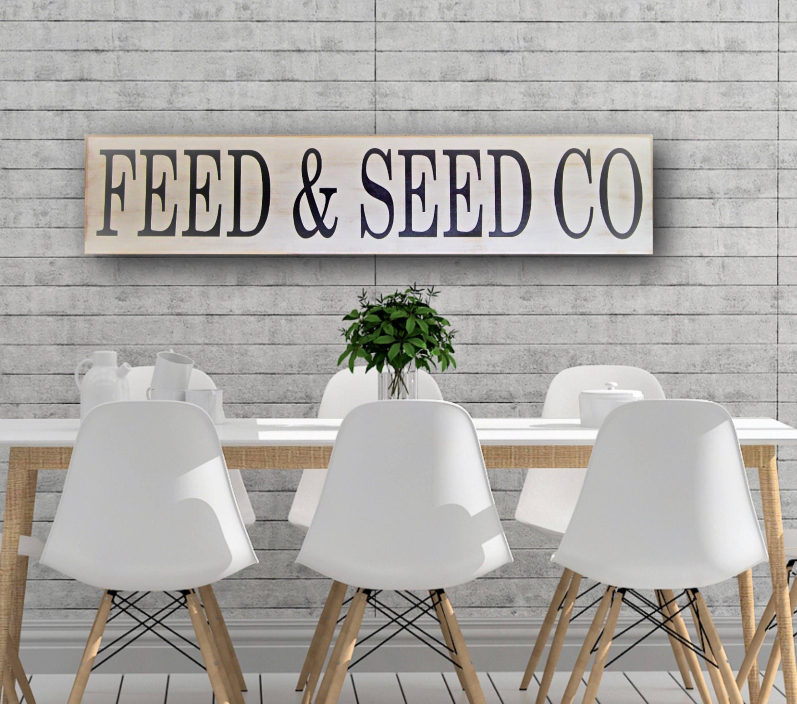 Feed and Seed Sign, Farmhouse Decor, Farmhouse Wall Decor, White ...